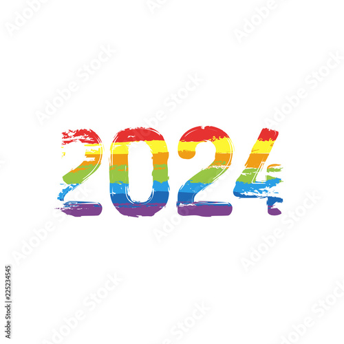 e0c335becc8 2024 number icon. Happy New Year. Drawing sign with LGBT style, seven  colors of rainbow (red, orange, yellow, green, blue, indigo, violet