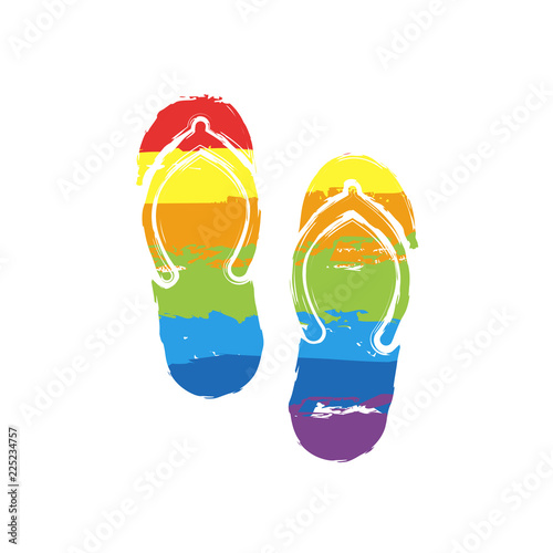 562521b0ae3 Beach slippers. Flip flops icon. Drawing sign with LGBT style
