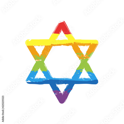 Fototapeta Star of david, simple icon. Drawing sign with LGBT style, seven colors of rainbow (red, orange, yellow, green, blue, indigo, violet obraz