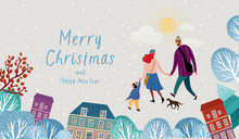 Vector Illustration Of A Happy Family In Christmas And New Year On A Walk Around The City, Mom, Dad, Child And Dog Stroll Through The Park, Family In Winter