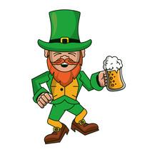 Irish Elf Holding Beer Cup Car...