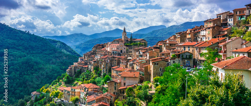 View of Apricale in the Province of Imperia, Liguria, Italy Fotobehang