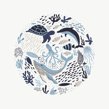 Set With Hand Drawn Sea Life Elements.