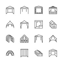 Tent Flat Line Icons. Event Pa...