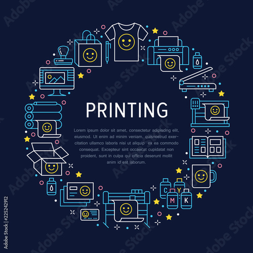 Printing house circle poster with flat line icons  Print