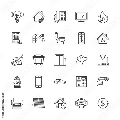 Public utilities flat line icons. Rent receipt, electricity water, gas, house heating, CCTV, overhaul, garbage vector illustrations. Thin signs utility invoice. Pixel perfect 64x64. Editable Strokes Wall mural
