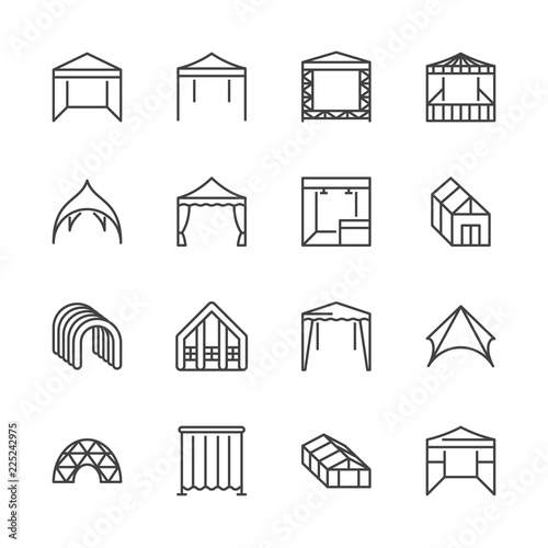 Obraz Tent flat line icons. Event pavilion, trade show awning, outdoor wedding marquee, canopy vector illustrations. Thin signs of mobile party booth. Pixel perfect 64x64. Editable Strokes. - fototapety do salonu