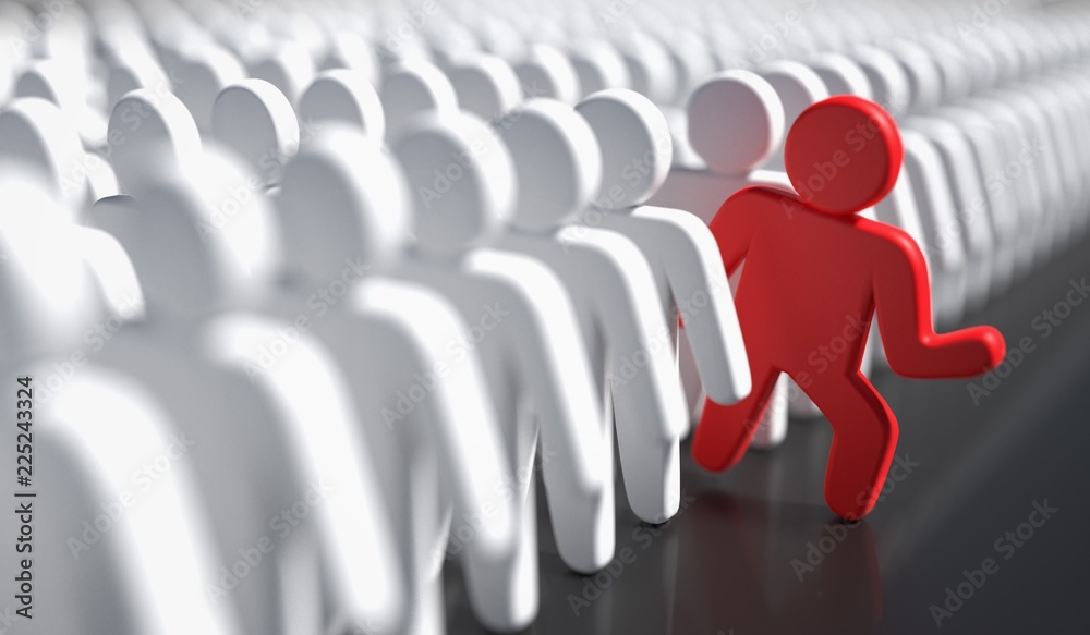 Fototapeta Liadership, difference and standing out of crowd concept. 3D rendered illustration