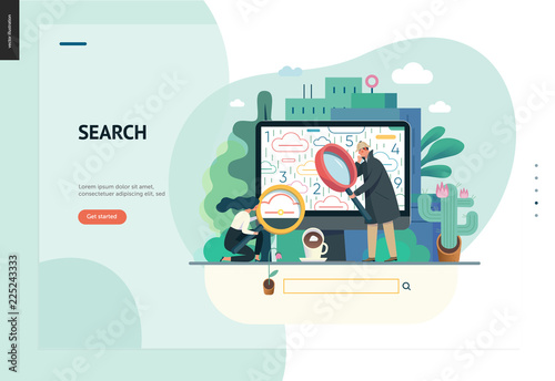 Photo  Business series, color 1 - search page - modern flat vector illustration concept of digital data research on computer