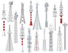 Radio Tower Vector Towered Com...