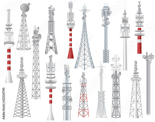 Radio tower vector towered communication technology antenna construction in city Canvas Print
