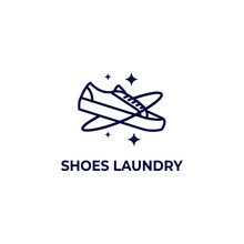 Galaxy Shoe Laundry Clean And Care Logo Icon Symbol Monoline Line Illustration Style