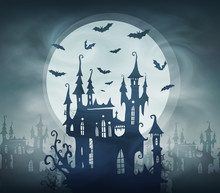 Dracula Dark Castle Silhouette With Bats And Giant Moon. Vector Halloween Card Template