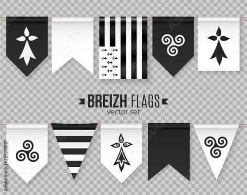 Fotografía Set of vector breton decorative flags and symbols with hermine and triskel