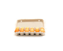 Close-up An Open Carton Box Of A Dozen Fresh Cage Free Grade A Large Brown Eggs Isolated On White Background. Top View Dozen Eggs In Cardboard Container, Paper Egg Box With Clipping Path, Copy Space.