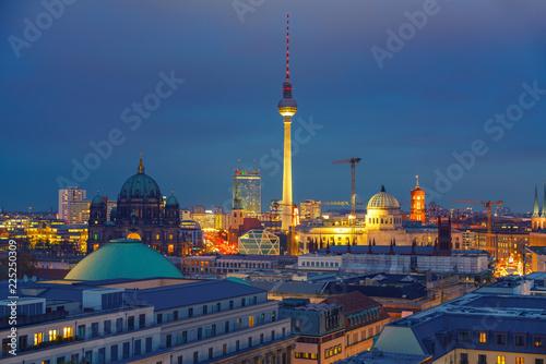 In de dag Bangkok Aerial view of Berlin at night, Germany