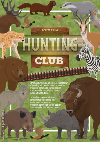 Foto  Vector hunting club poster of wild animals