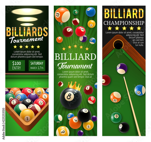 Foto Billiards club championship and tournament banners