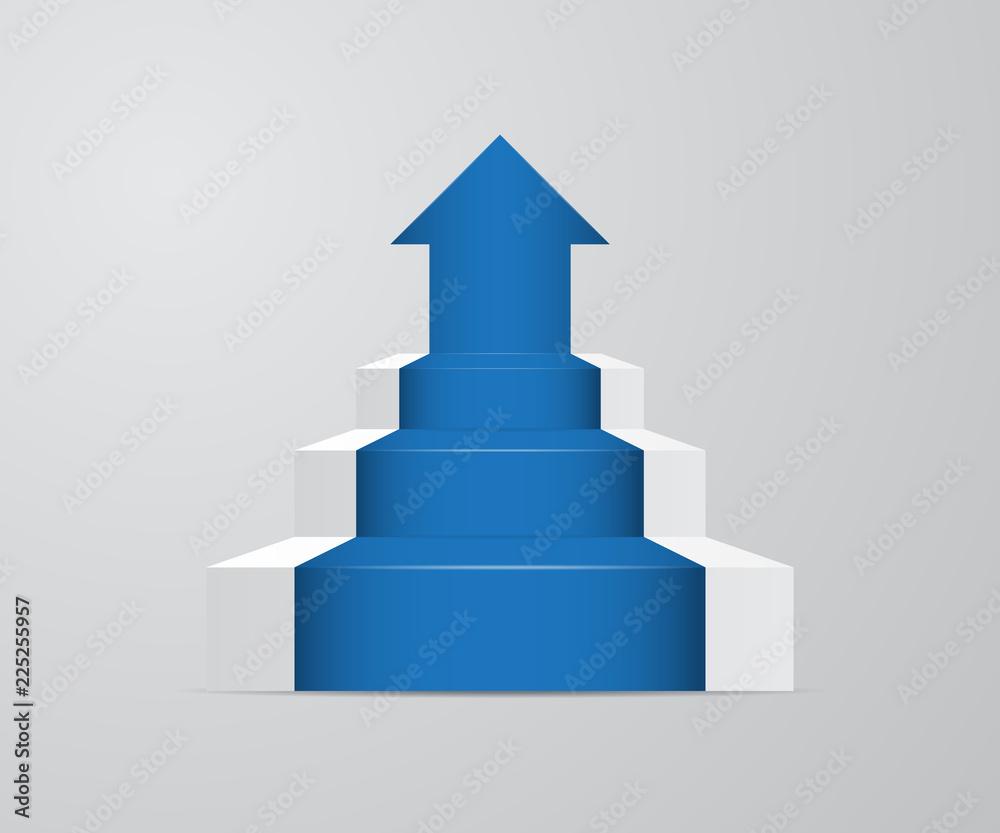 Fototapeta ladder with growth up arrow