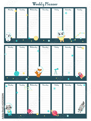 Photo  Weekly planner vector template with space animals