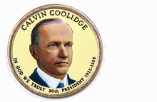 Calvin Coolidge Presidential Dollar, USA Coin A Portrait Image Of CALVIN COOLIDGE In God We Trust 30th PRESIDENT 1923 -1929 On $1 United Staten Of Amekica, Close Up UNC Uncirculated - Collection