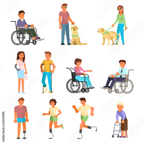 Photo  Disabled people vector flat isolated icon set
