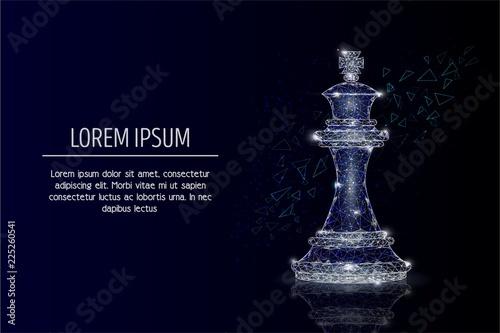 Leinwand Poster King chess piece vector geometric polygonal background