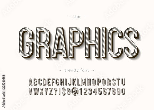 Obraz na plátně Vector graphics alphabet 3d bold modern typography sans serif style for book, promotion, poster, decoration, t shirt, sale banner, printing on fabric