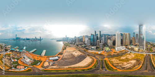 360 Aerial view panorama cityscape of Hong Kong, China