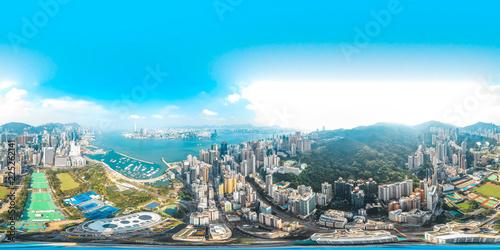 Fototapeta premium 360 Widok z lotu ptaka panorama miasta Hong Kong, Chiny