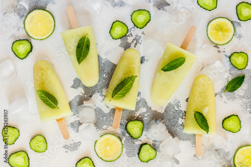 Cucumber and Lime Ice Pops