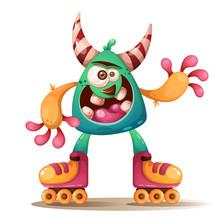 Crtoon Monster Characters. Roller Skate Illustration. Vector Eps 10