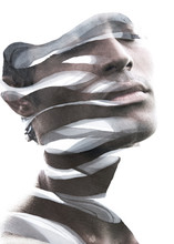 Paintography. Double Exposure Portrait Of An Attractive Man's Face Combined With Hand Drawn Ink Painting