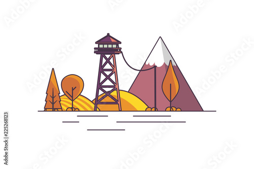 Canvastavla Vector Flat Art landscape outline stroke design, with fire lookout tower in autumn