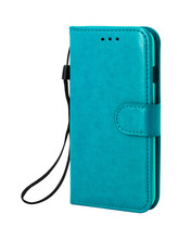 Leather Mobile Phone Cover Isolated On White Background. Blue Phone Case With Rope For Design. ( Clipping Path )