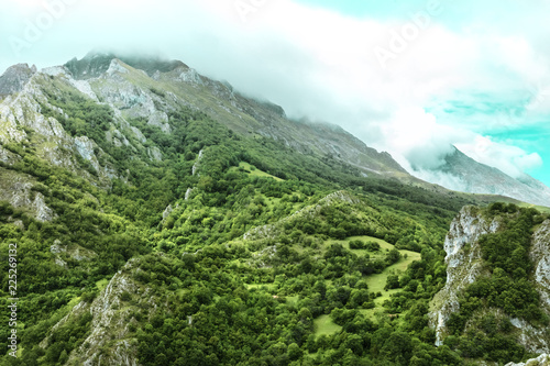 View over the mountains of Asturias, Spain