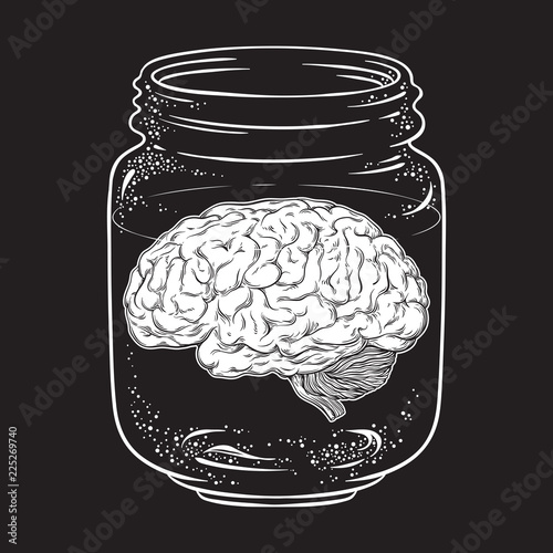 Human brain in glass jar isolated. Sticker, print or blackwork tattoo design hand drawn vector illustration