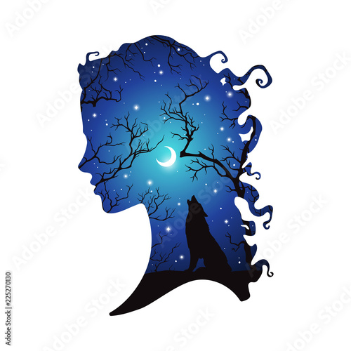 Double exposure silhouette of beautiful woman with shadow of wolf in the night forest, crescent moon and stars. Sticker or tattoo design vector illustration. Pagan totem, wiccan familiar spirit art