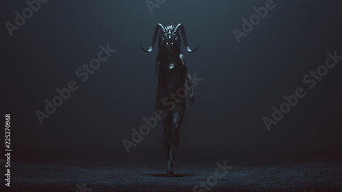 Photo Evil Witch with a Head Dress in a foggy void with a Bad Hair Day 3d Illustration
