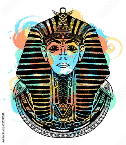 Stampa su Tela Pharaoh tattoo art t-shirt design