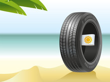 The Summer Tire On The Hot Beach.The Summer Tire On The Hot Beach Is Ready To Tests By Summer Heat.