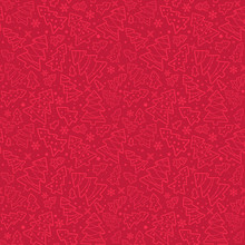 Vector Seamless Simple Pattern With Christmas Fir Trees, Snowflakes, Stars. Elegant Holiday Red Background For Printing On Fabric, Paper For Scrapbooking, Gift Wrap And Wallpapers.