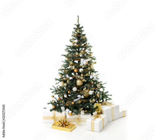 Christmas tree decorated with gold patchwork ornament artificial star hearts presents for new year 2019 isolated on white