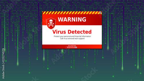 Fotografía  Alert message of virus detected
