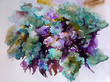 Abstract bright colored decorative background . Floral pattern handmade . Beautiful tender romantic bouquet of lilac spring flowers , made in the technique of watercolors from nature.