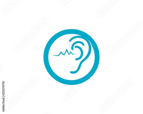 Ear Hearing logo and vector icon Tablou Canvas