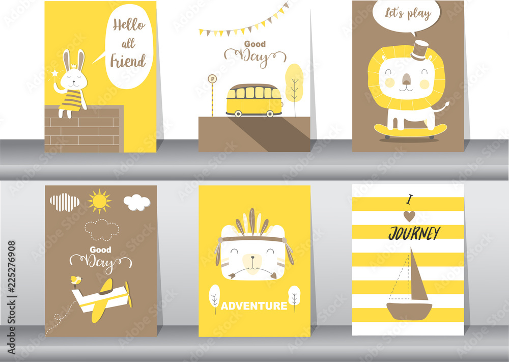 Photo Art Print Set Of Cute Animals Poster Template Cards Rabbit Bear Zoo Kawaii Vector Ilra Europosters