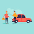 Parking attendant. Bellboy carries a suitcase to the car. Flat design vector illustration