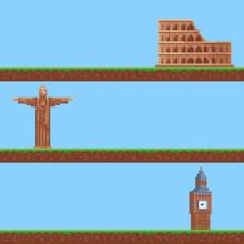 Set Of Backgrounds. Pixels 8 B...