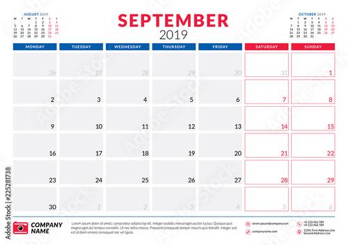 Calendar Planner September 2019.September 2019 Calendar Planner Stationery Design Template Vector